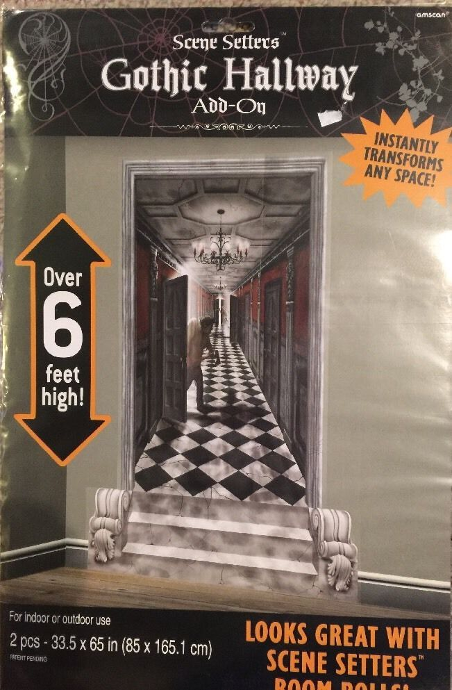 Gothic Hallway Scene Setters Add-ons Wall Decoration Kit Halloween - halloween scene setters decorations