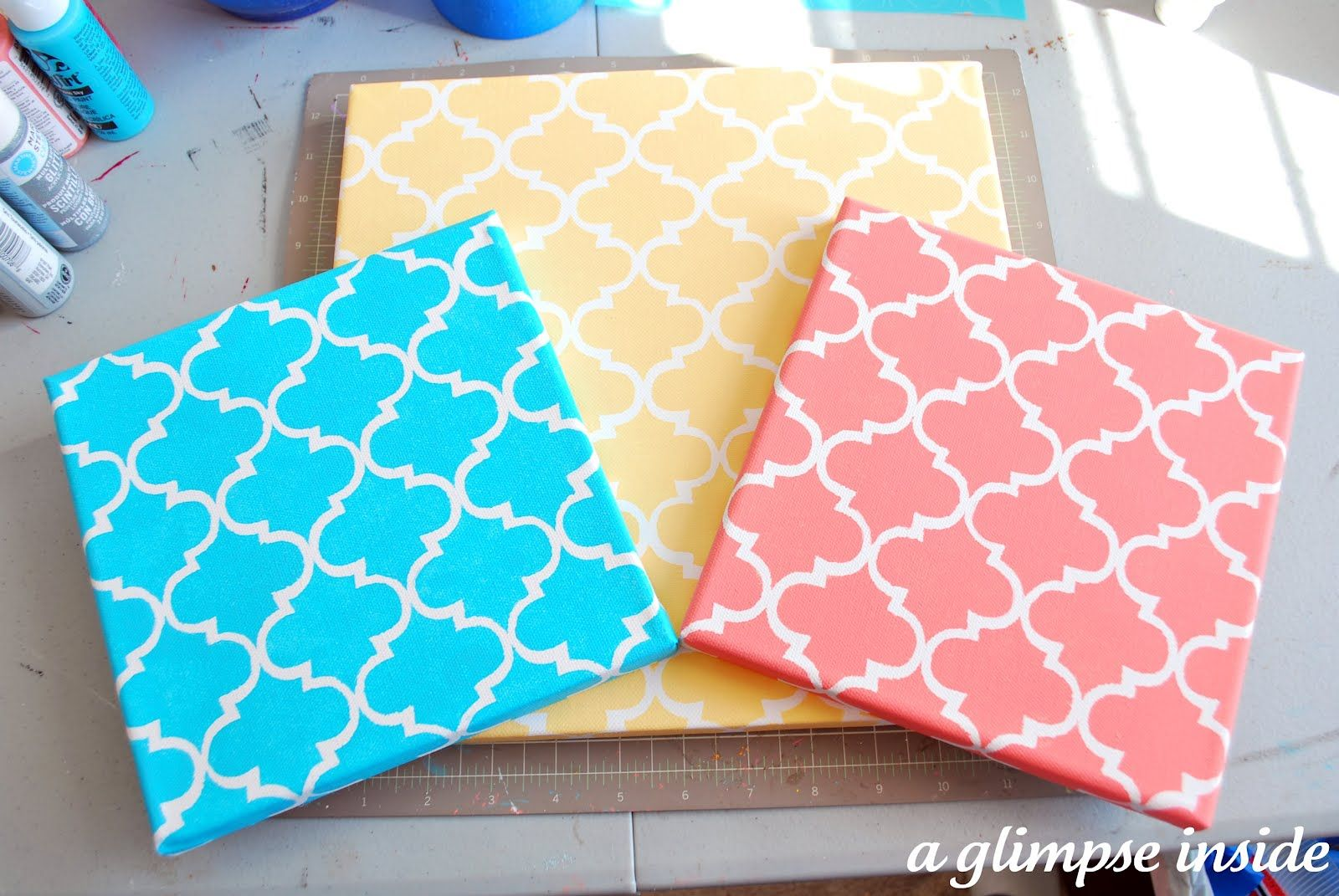 A Glimpse Inside: Nursery Project 1: Stenciled Initial Canvases