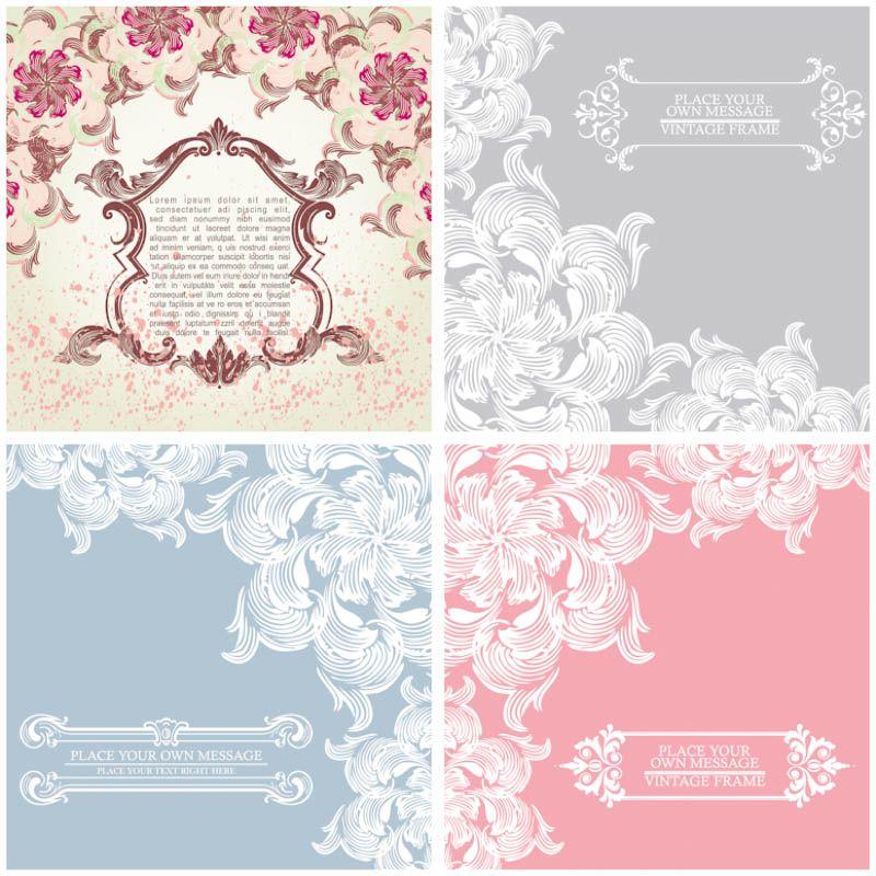 Floral ornament vintage cards vector