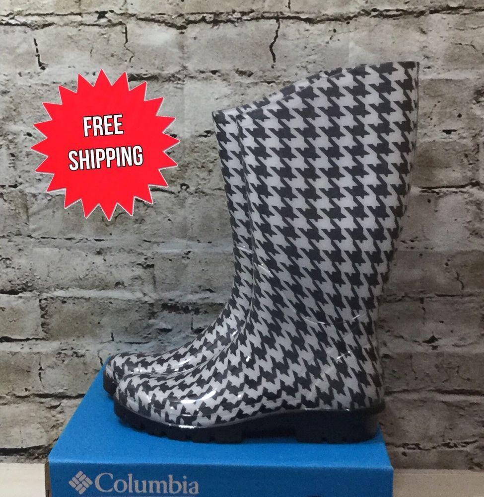 7dc0eaf9f07 Columbia Women's Rainey Tall Rain Boot Black/White Houndstooth ...
