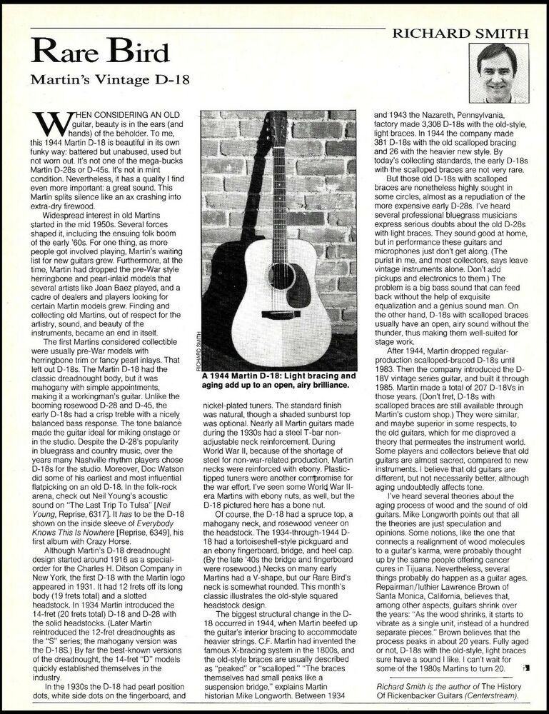 The Martin Vintage 1944 D 18 Acoustic Guitar History 8 X 11 Article Print Martin In 2021 Vintage 1944 Martin Acoustic Guitar Acoustic Guitar