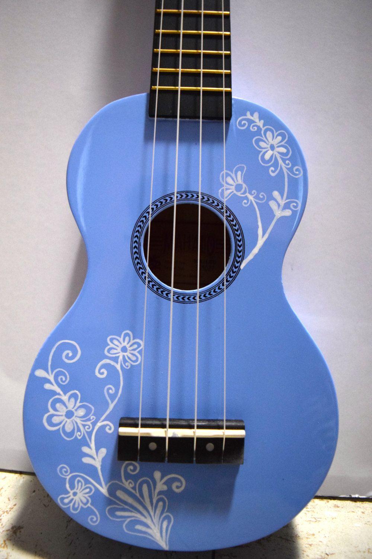 Cherry blossom ukulele hand painted by lemontreeworkshop soprano ukulele with hand painted design flowering vine ccuart Gallery