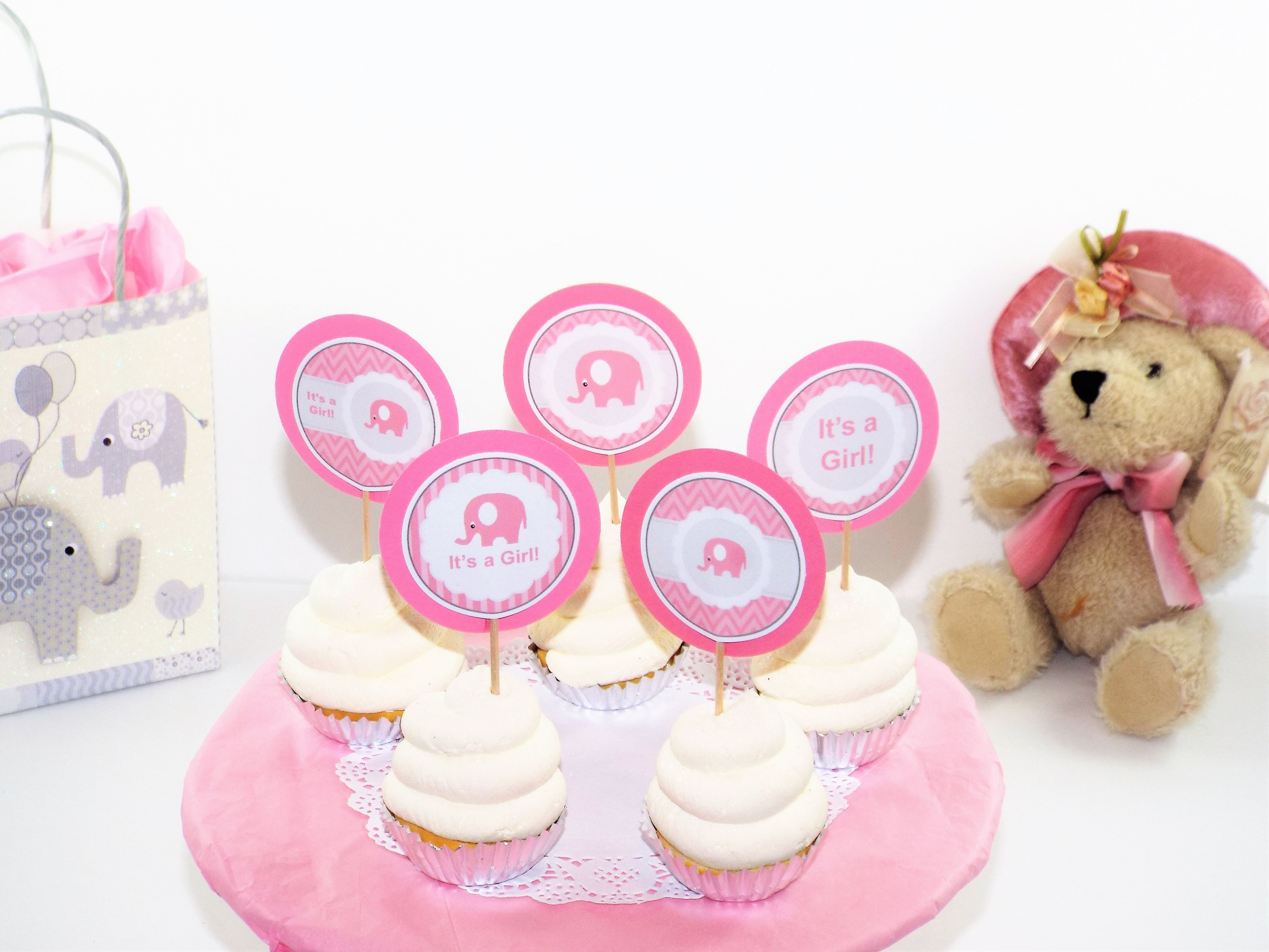 It\'s a Girl Baby Shower Elephant Cupcake Toppers. To find out how ...