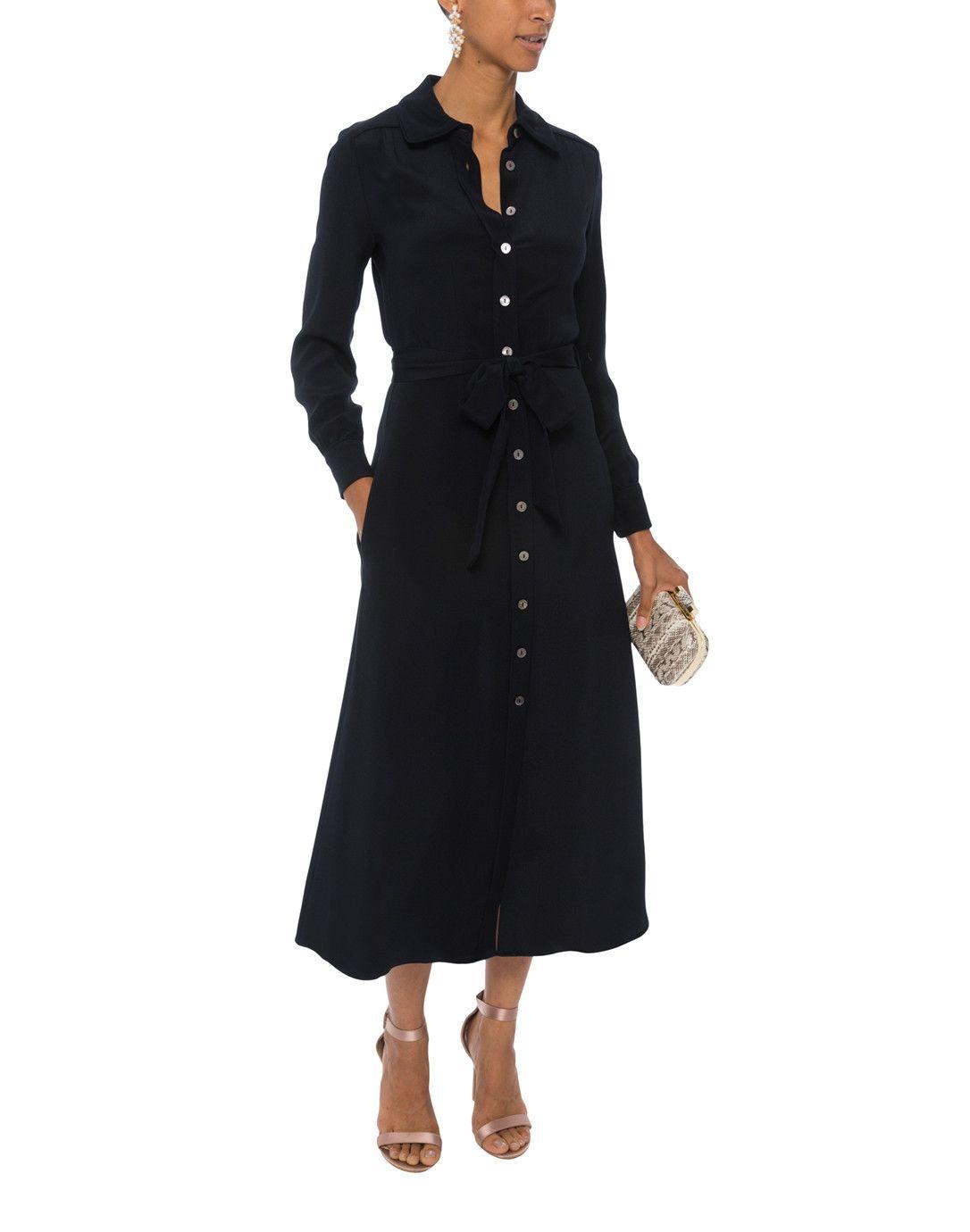 876cdd3fbef Geneva Navy Silk Shirt Dress