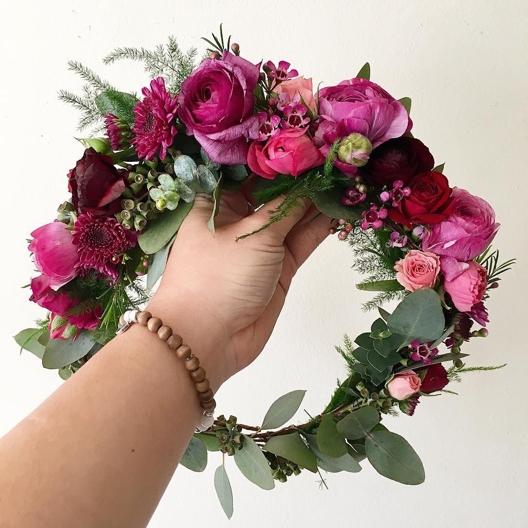 Blush Purple Fuscia Flower Crown With Two Varietal Eucalyptus And