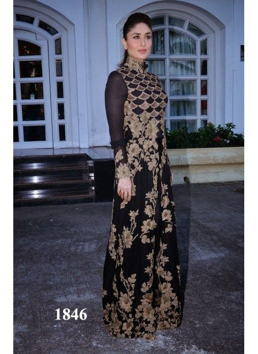Kareena Kapoor Black And Gold Floor Length Designer Anarkali Suit ...