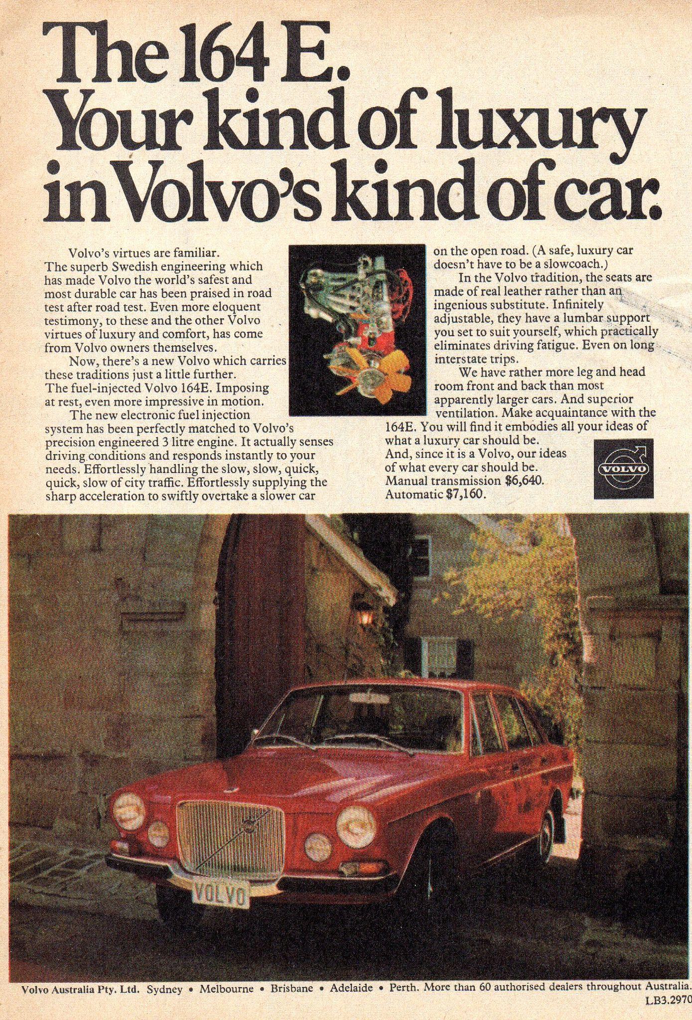1972 volvo 164 e sedan aussie original magazine advertisement