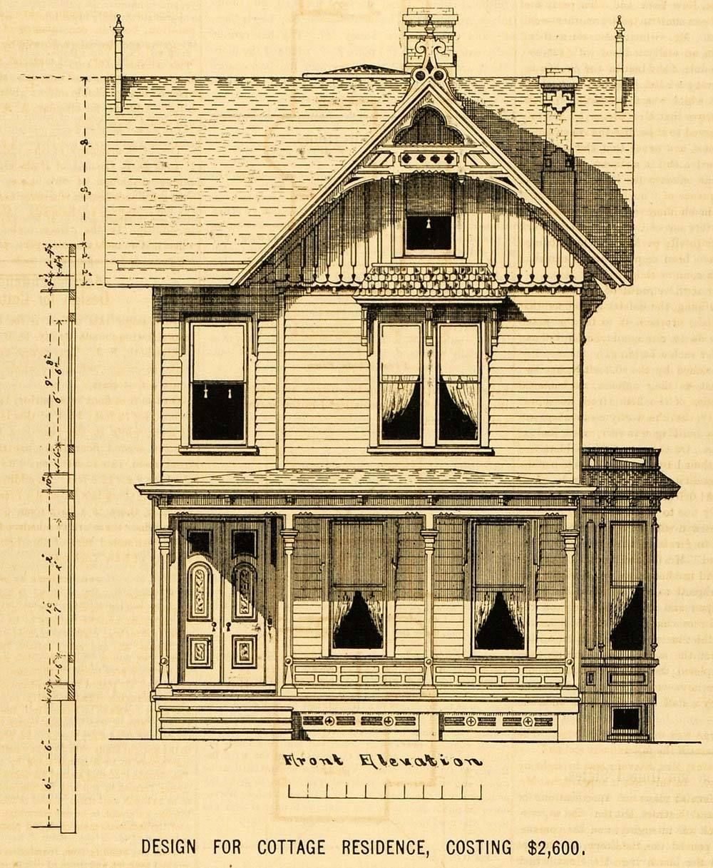 1878 prints cottage architectural design floor plan victorian