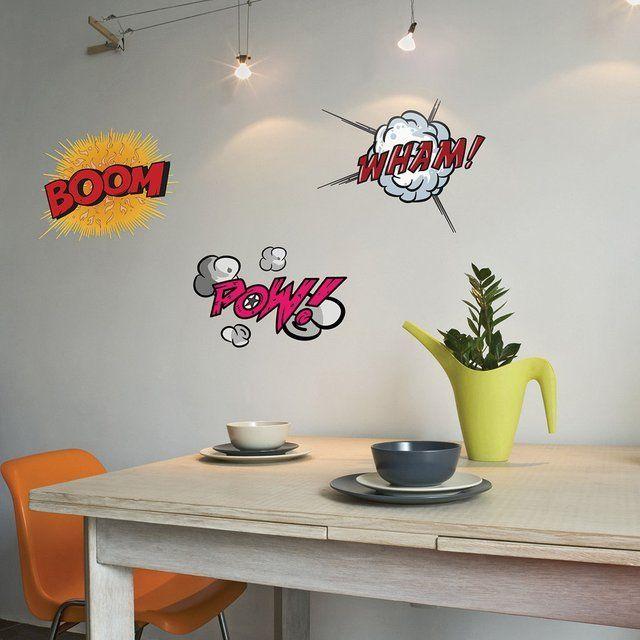 d co bd stickers onomatop es de comics coller sur vos murs le blog d co pinterest. Black Bedroom Furniture Sets. Home Design Ideas