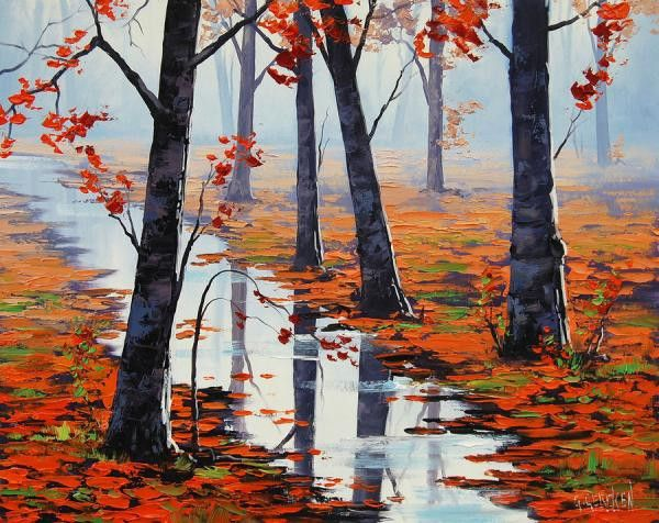 Find More Painting & Calligraphy Information about Oil Painting On Canvas Home Decor Huge artwork 100% hand made Modern stream in woods Knife Painting Art  textured Free shipping,High Quality Painting & Calligraphy from Guangzhou BoYing Arts Center Co Ltd on Aliexpress.com