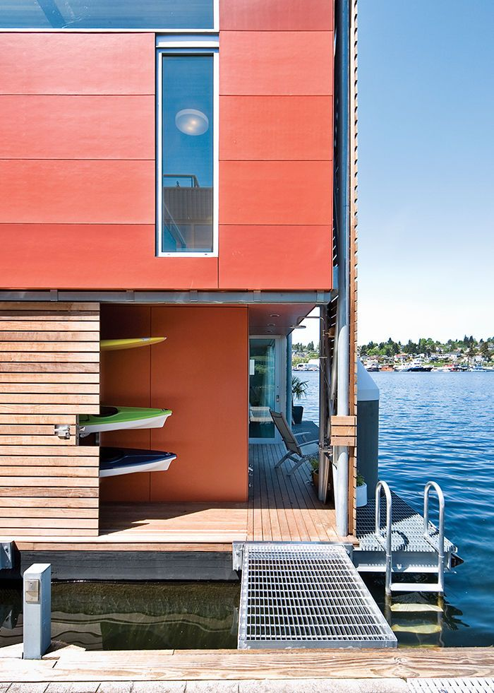 Prefab floating home in seattle with fiber cement panels for Prefabricated homes seattle