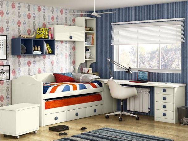 Dormitorio juvenil con compacto bicama dormitorios for Dormitorio juvenil compacto