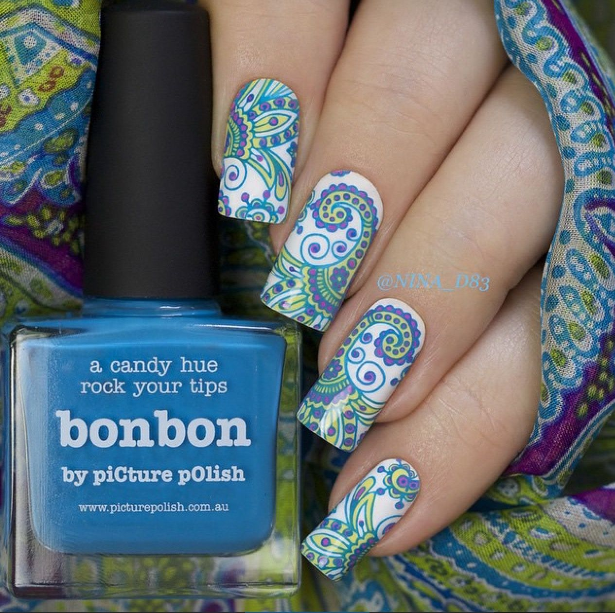 piCture pOlish = Nina wearing 'BonBon, Dream, Sorbet + Bright White LOVE thanks! www.picturepolish.com.au
