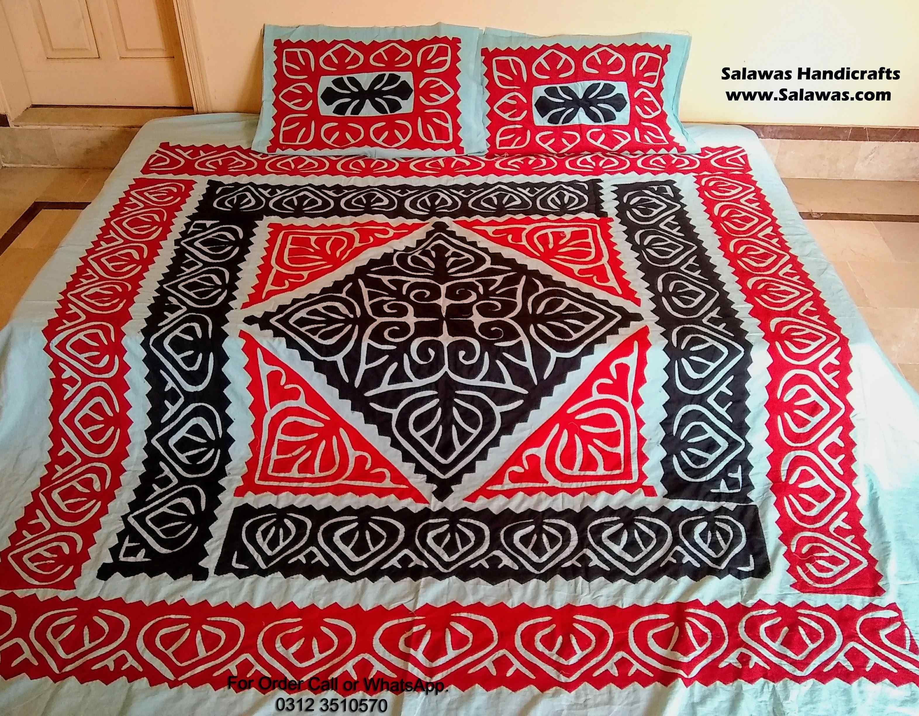 The Best New Sindhi Ralli Designs Bed Sheet Available At Wholesale Price This Is The Handmade Aplic Ralli Bed Sheet Also Work Bed Bed Cover Design Bed Sheets