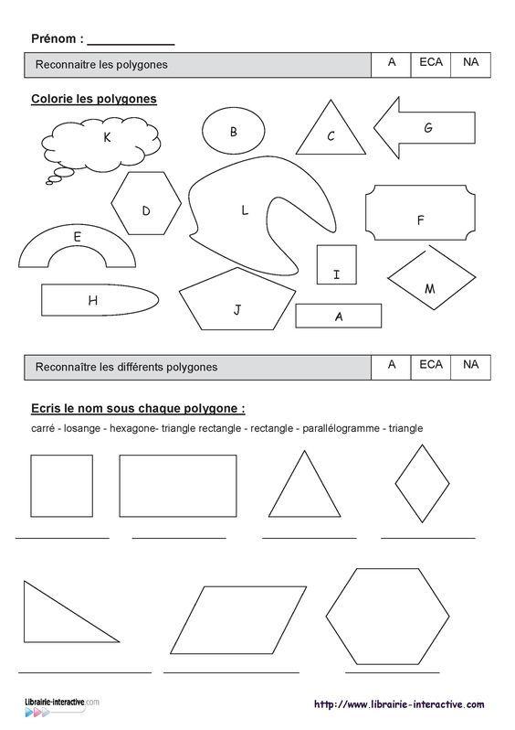 Deux évaluations (CE1 et CE2) sur les polygones, les
