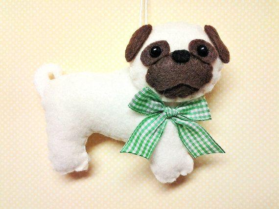 Felt Pug Ornament - Personalized Ornament - Pug Christmas Ornament - Dog Ornament - Felt Dog - Pug Decor - Pug Ornament Personalized Gift