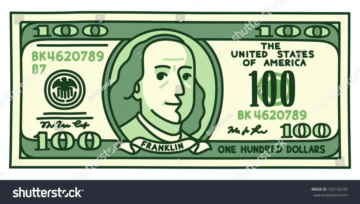 Cartoon Hand Drawn 100 Dollar Bill With Stylized Franklin Portrait Play Money Or Fake Banknote Vec How To Draw Hands Dollar Illustration Cartoon Hands Drawing