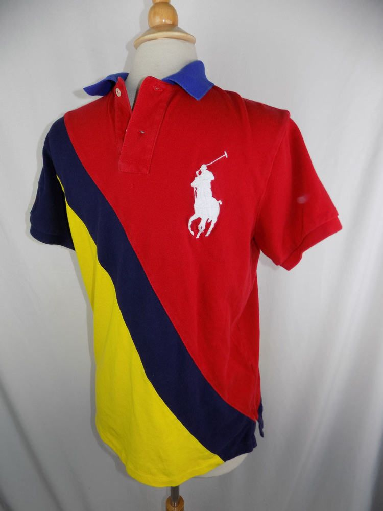 7f6fd0eb19dc Big Pony Ralph Lauren Red Blue Yellow Custom Fit Polo Shirt Medium 2010 US  Open  RalphLauren  PoloRugby