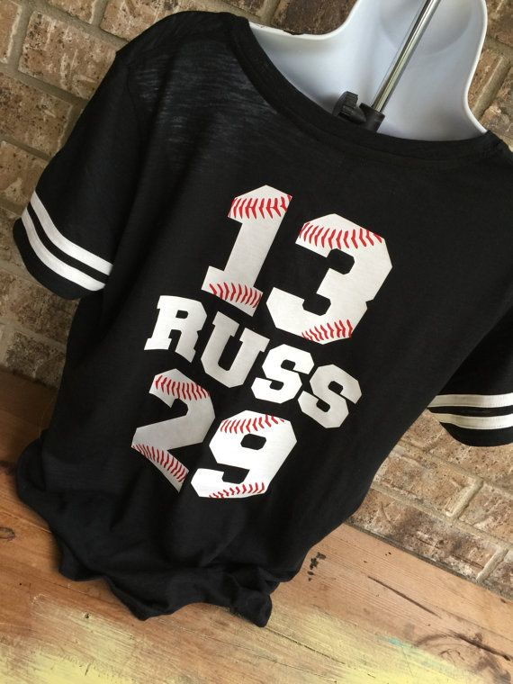 05947c27 Baseball Mom T-Shirt - Baseball Mom Tee, 2 numbers onthe back, shirt with  red laces, Name and 2#s customized on back, Proud baseball Mom
