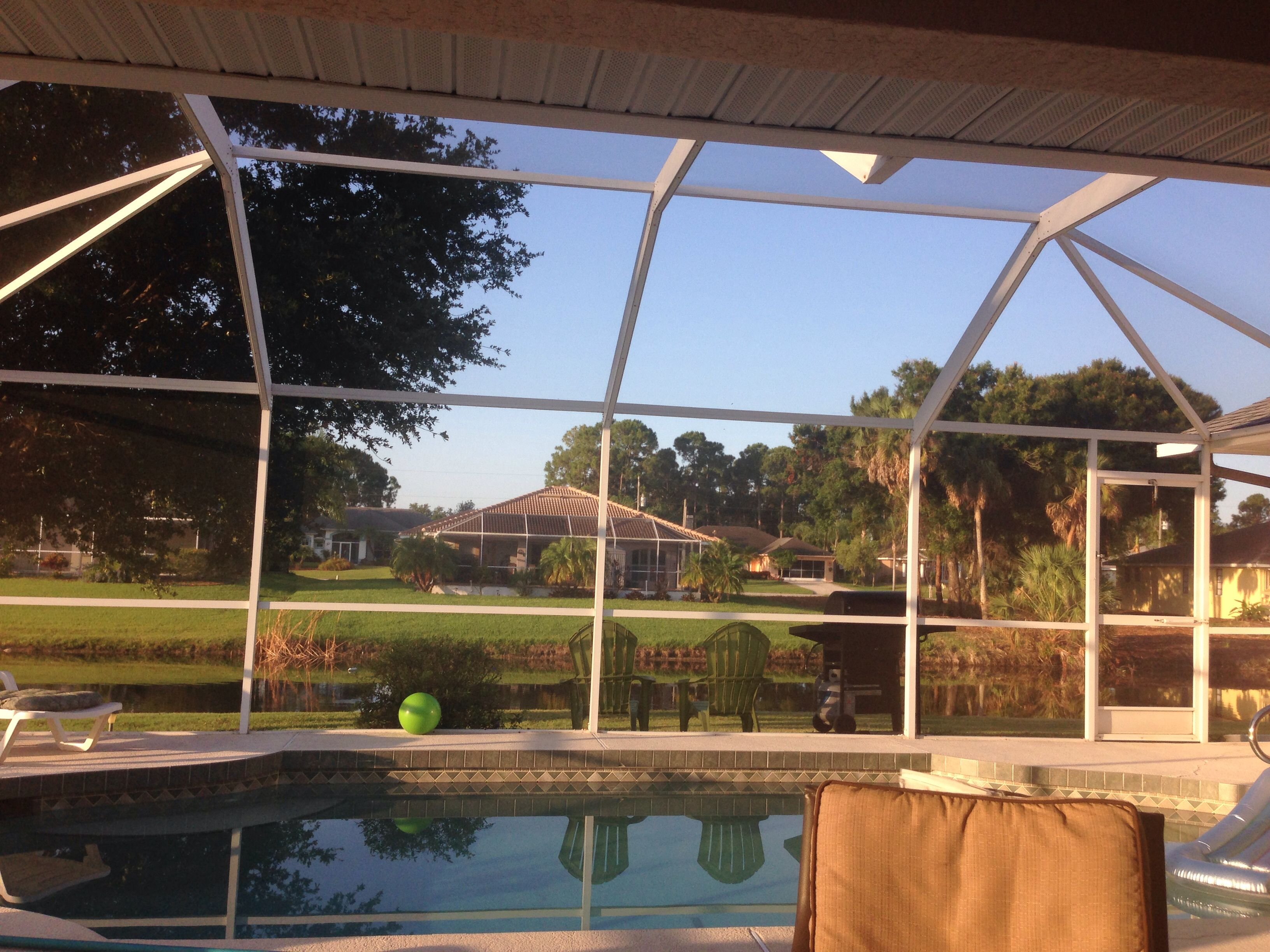 View from lanai Porch swing, Outdoor decor, Outdoor