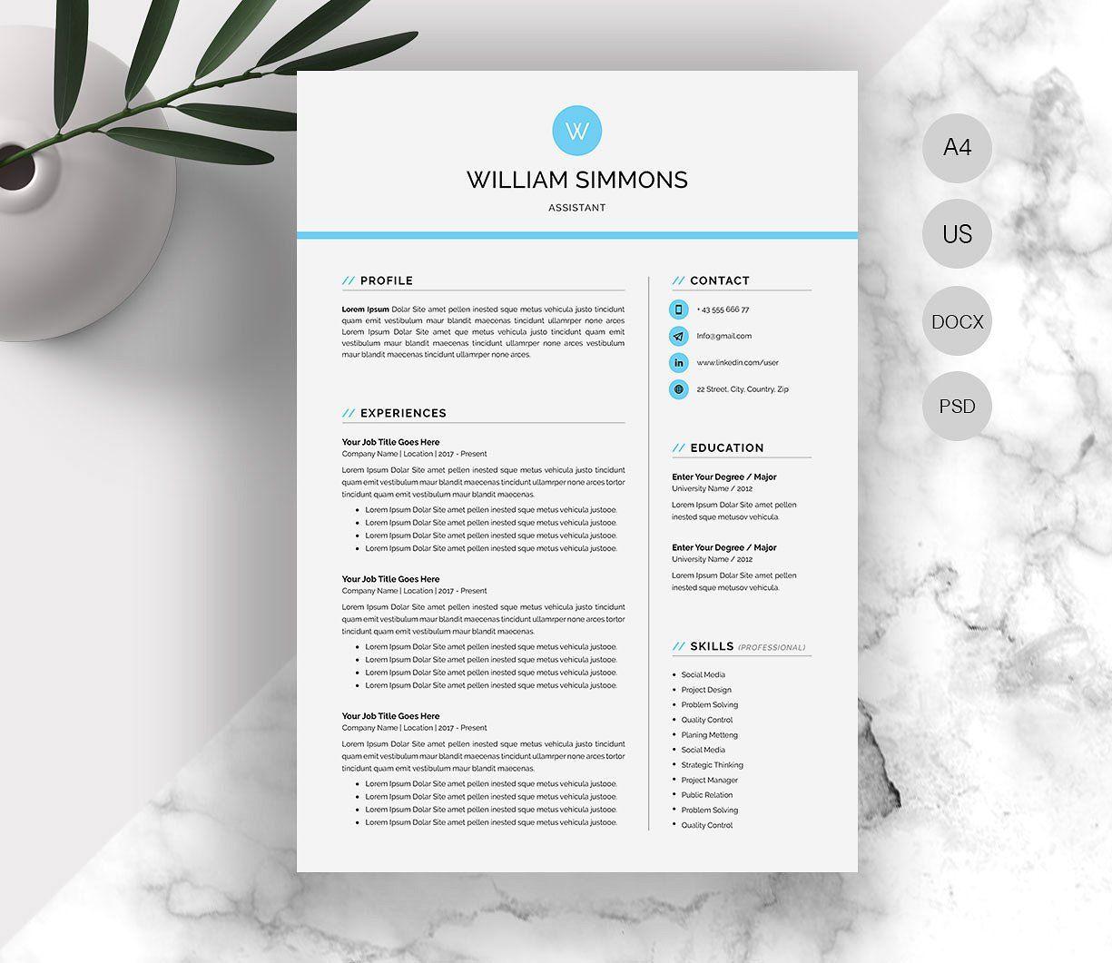 Word Resume Cv Resume Design Template Resume Cv Creative Resume Templates