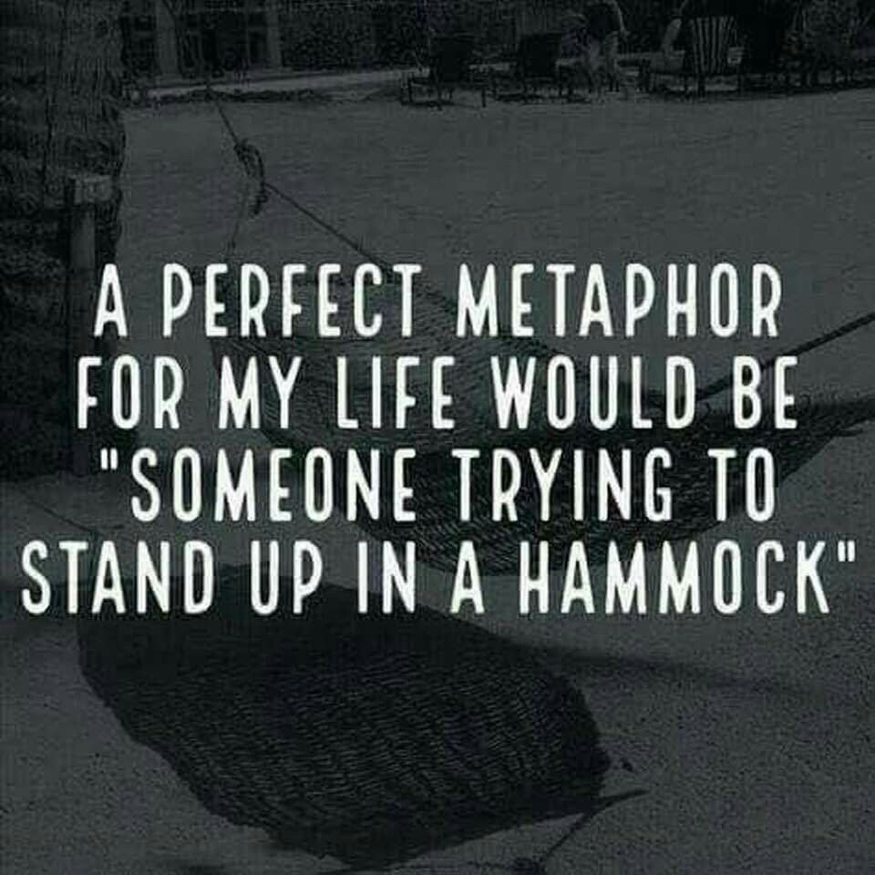 """A perfect metaphor for my life would be """"someone trying to"""