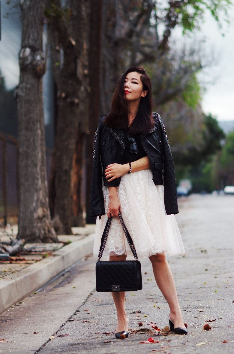 Leather jacket and skirt