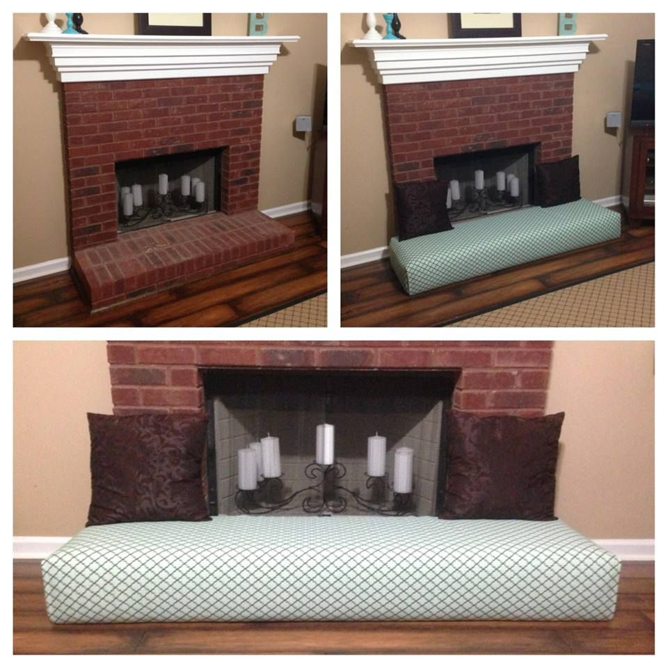 Baby proof fireplace by turning into a couch. and put glass in the fireplace so they can