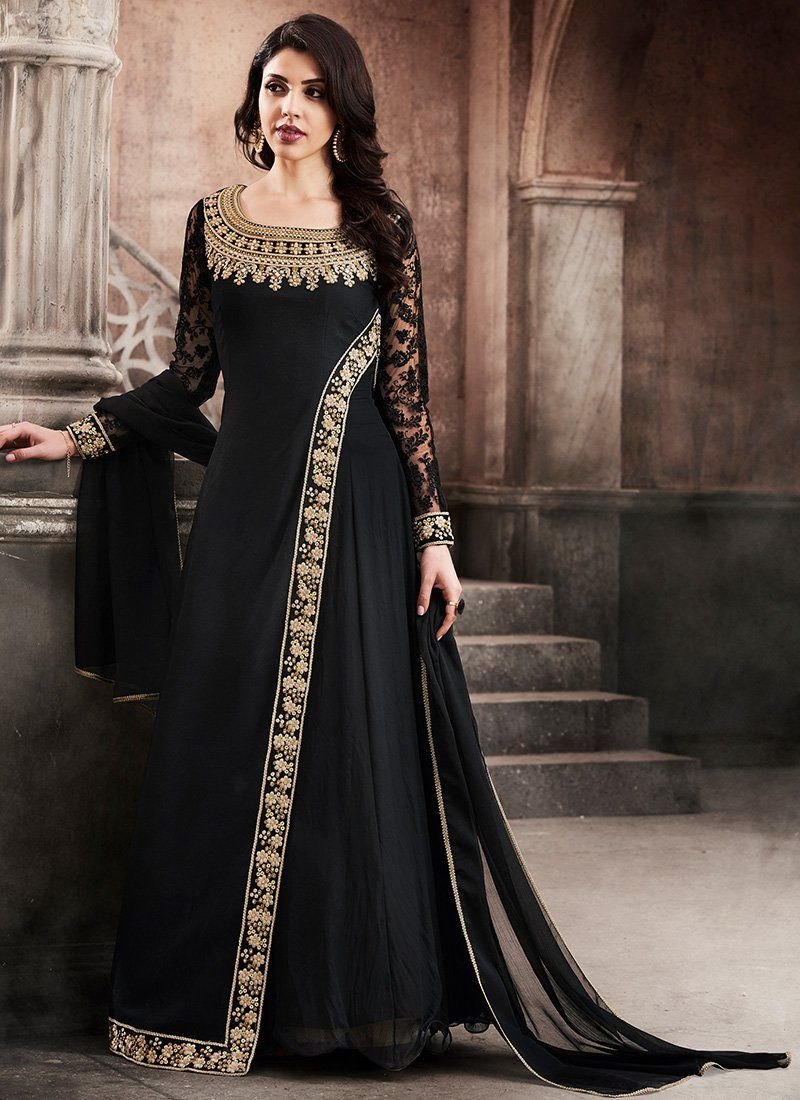 b541418fb4db Black and Gold Embroidered Georgette Anarkali