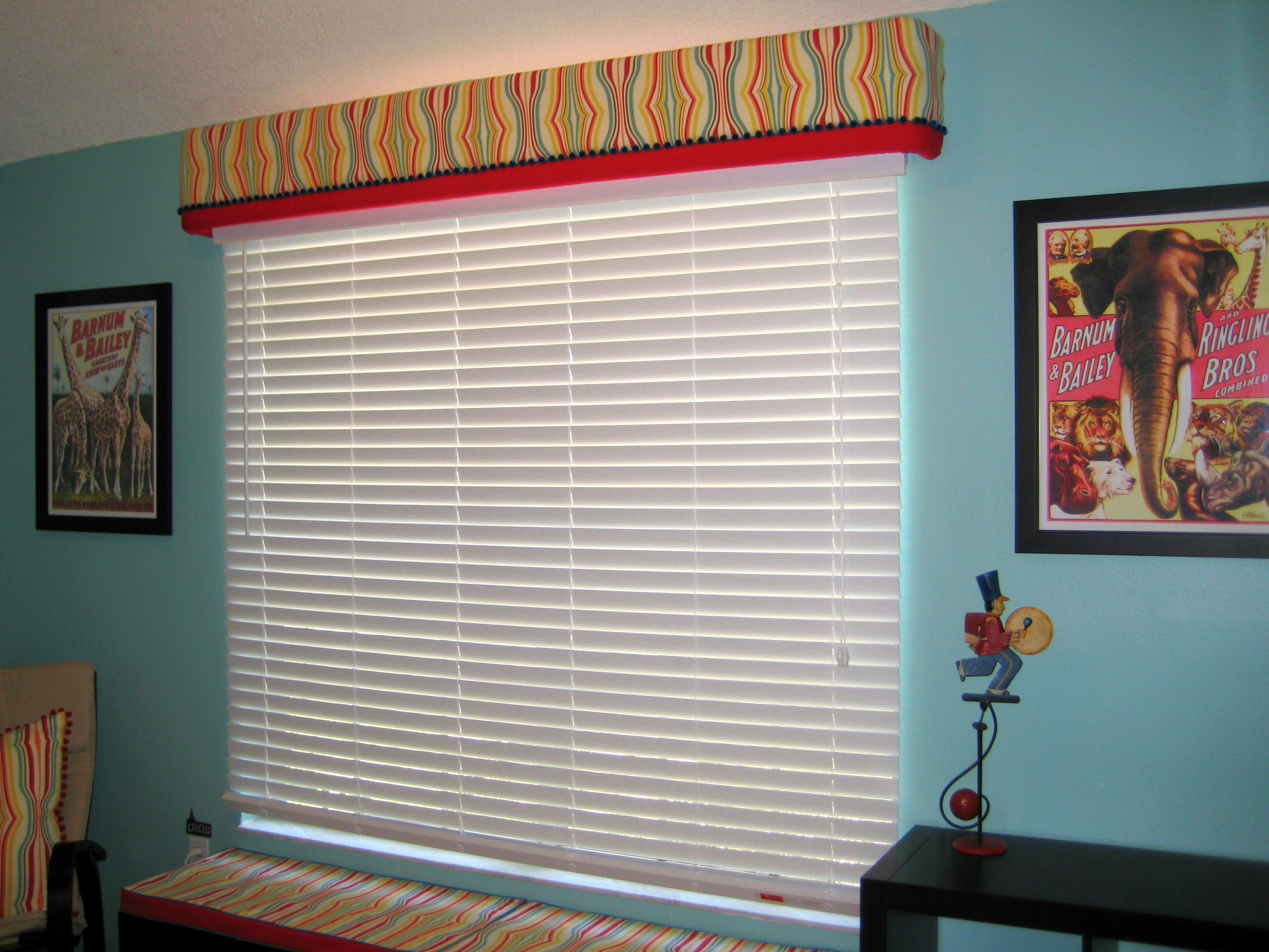 Fabric cornice over vertical blinds eshutterguy