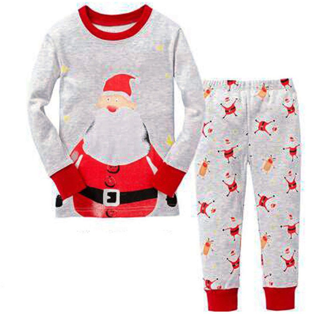 Bling Stars Boys Girls Kids Reindeer Christmas Pjs Sleepwear Cotton Pajamas Sets