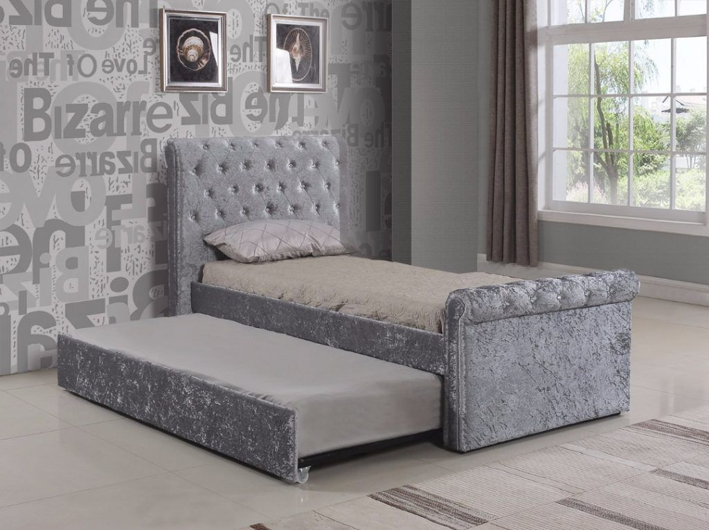 Selina Silver With Trundle Single Velvet Bed Fabric Bed Frame
