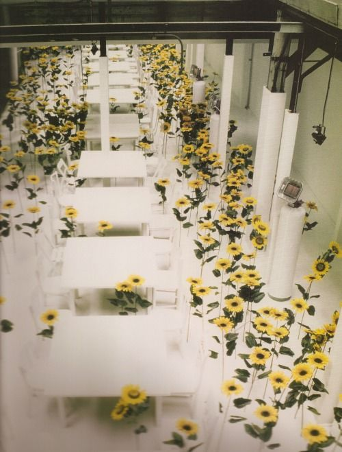 """[There was] no catwalk show at Maison Martin Margiela Spring/Summer 1997. White decor was set within the main area of the space. A field of imitation sunflowers were planted in the floor. The sales of the collection as well as press meetings took place amid the flowers. Light orchestral 'Muzak' played throughout the space.""""  Image from """"Maison Martin Margiela Street Special Edition Volume 1 & 2"""" photographed by Marina Faust"""