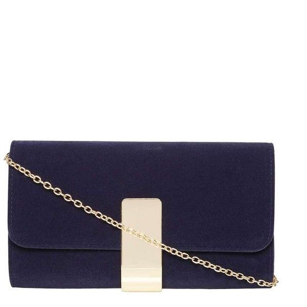 Dorothy Perkins Navy Velvet Clutch bag (91 BRL) ❤ liked on Polyvore featuring bags, handbags, clutches, purses, blue, blue clutches, navy blue handbags, velvet handbag, blue handbags and blue purse