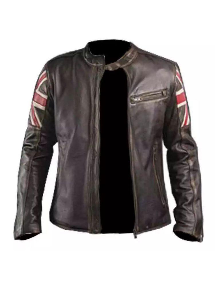 New Men/'s Classic Fashion UK Flag Vintage Cafe Racer Brown Biker Leather Jacket