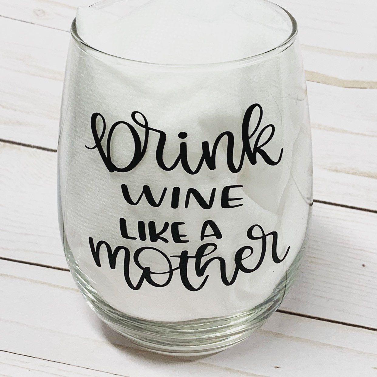 Mothers Gift Wine Glass, Stemless Glass New Mom, Wine