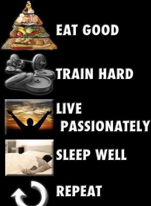 Coma bem, treine pesado, viva apaixonadamente, durma bem, repita.