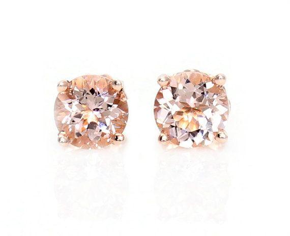 Morganite Earrings Rose Gold Stud By Rareearth 265 00