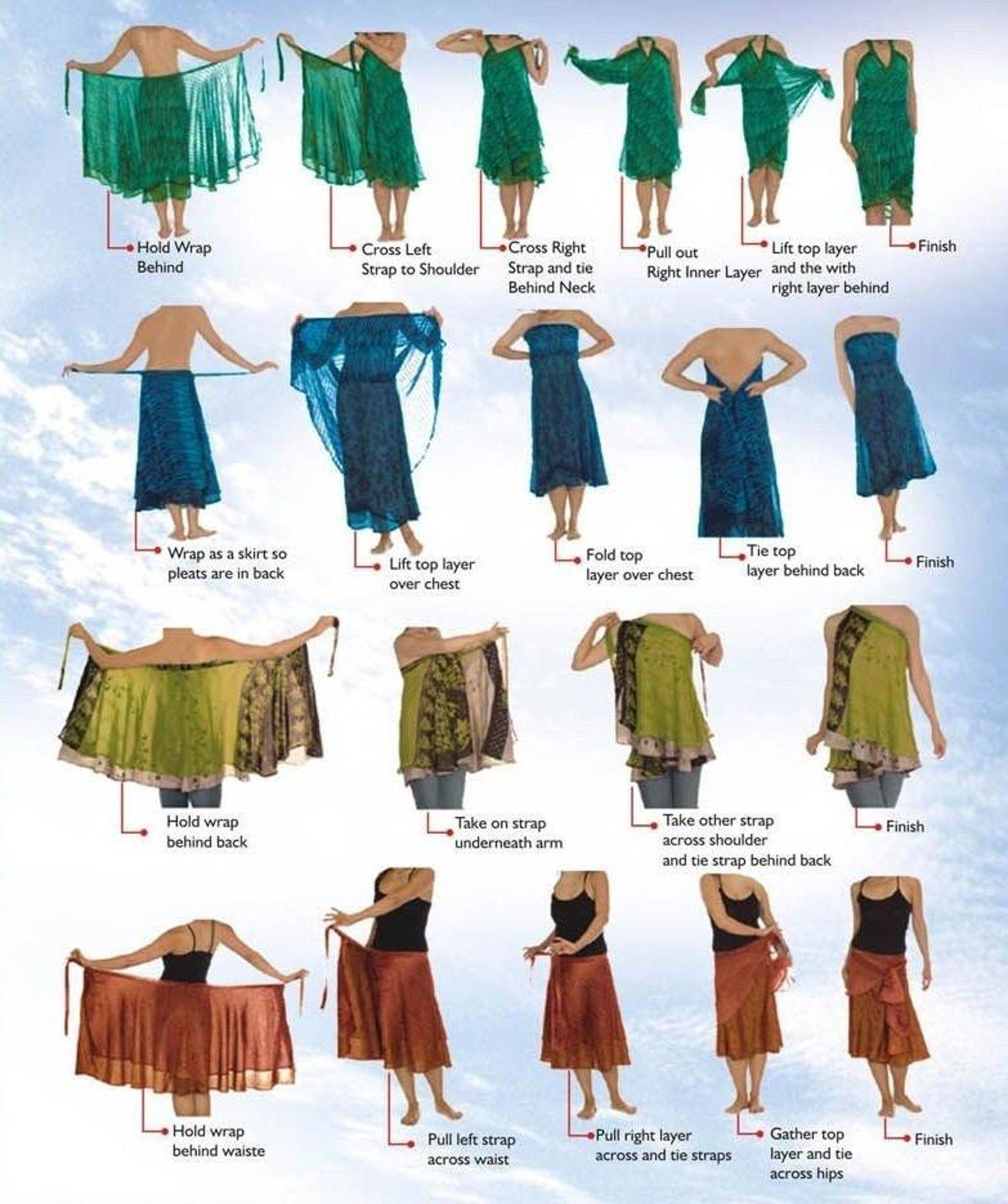 Long Sari Silk Wrap Skirt - Sz 14-20