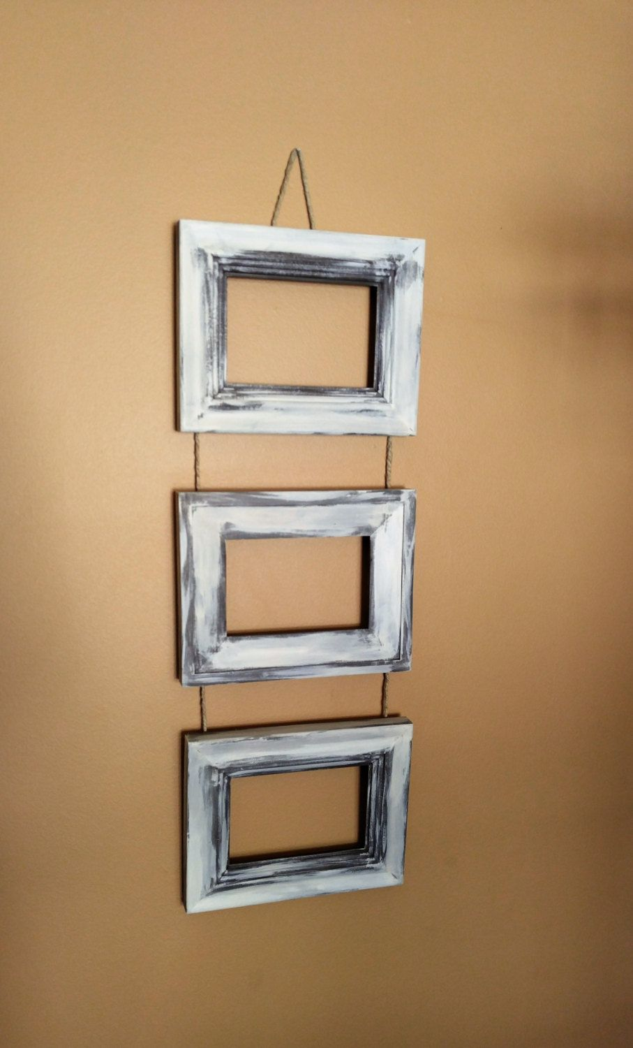 Three Frame Photo Holder,Distressed Brown and white 4x6 Frames ...