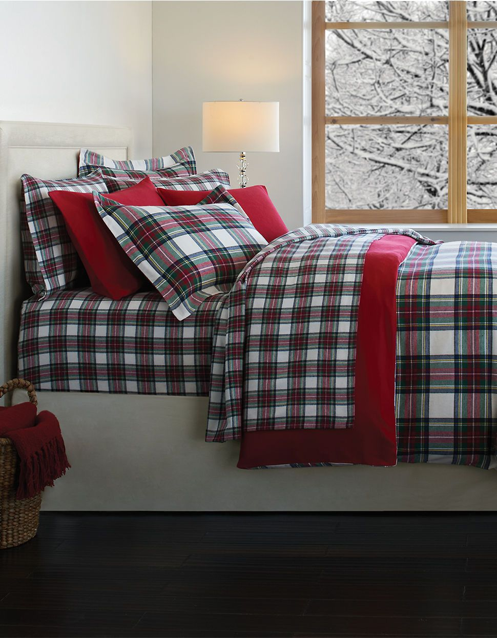 Distinctly Home Stewart Plaid Flannel Duvet Cover Made In Portugal Hudson S Bay Plaid Bedding Christmas Bedroom Home Decor
