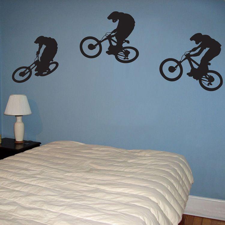 Downhill Mountain Biker Wall Decal Sticker Graphics Room Decor