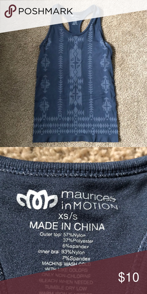 4f704b9d2f Maurice s in Motion workout tank top. Grey patterned athletic tank top with  built in sports bra. Good condition. Maurices Tops Tank Tops