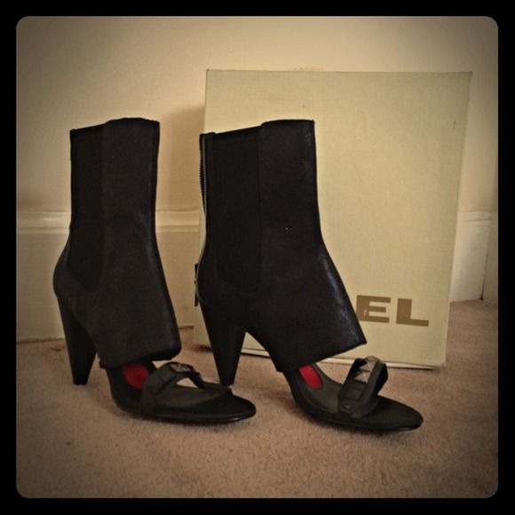 "BNIB Diesel Open Toe Boots Brand new Open toe boot by Diesel in black colour. Zipper closure at the back, 3.5"" heels, Material: Leather & textile Diesel Shoes"