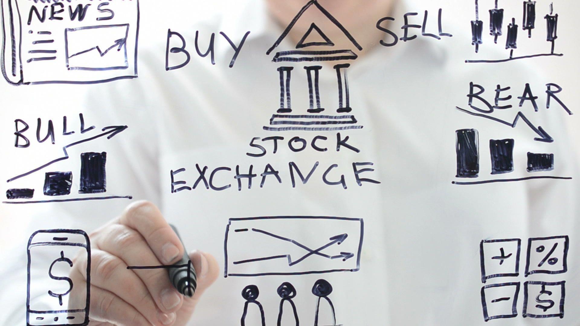 Illustration on stock exchange. We draw a marker. animal