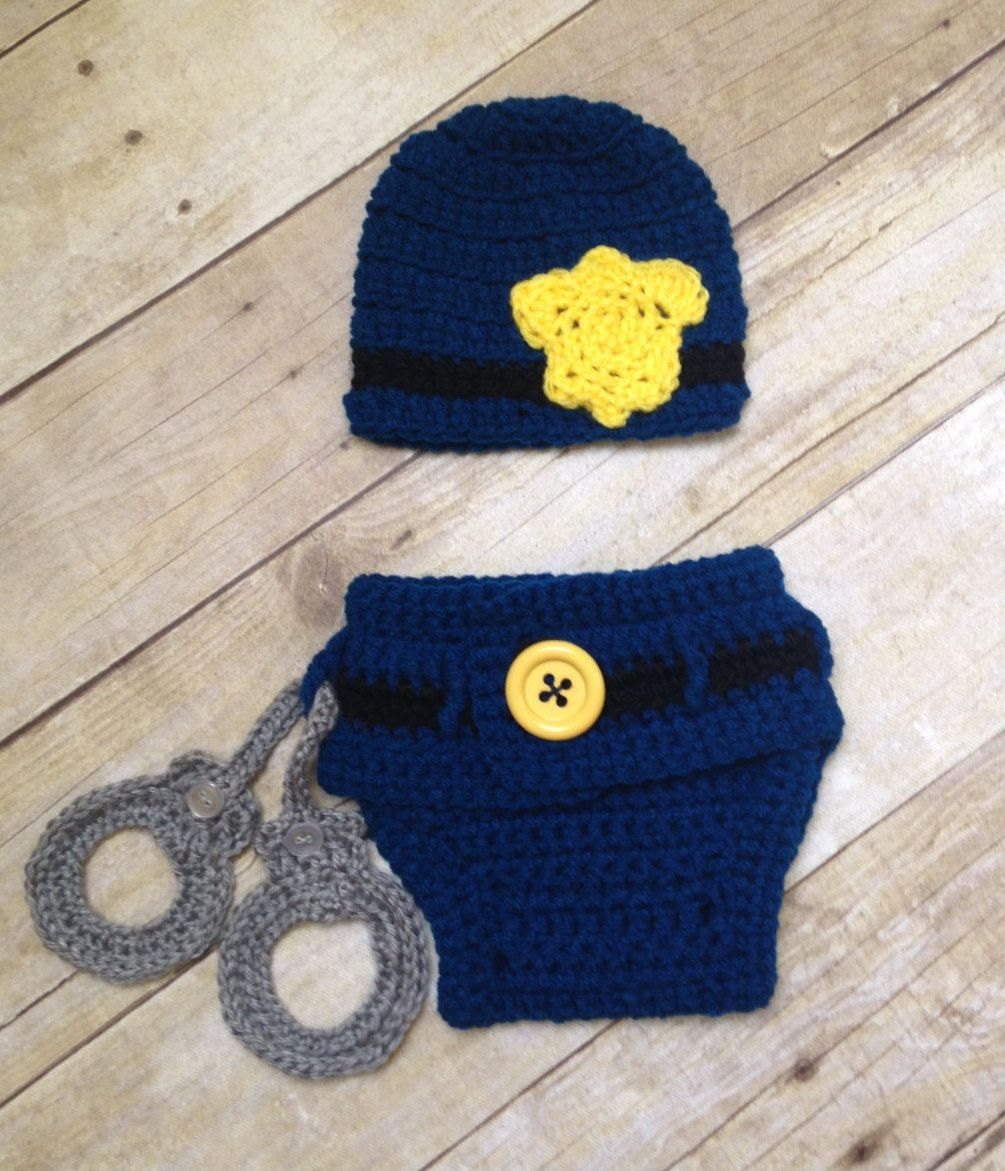CROCHET PATTERN Policeman Hat and diaper set, cop outfit- newborn to ...