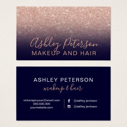 Makeup navy blue typography rose gold glitter business card makeup navy blue typography rose gold glitter business card chic design idea diy elegant beautiful reheart Images