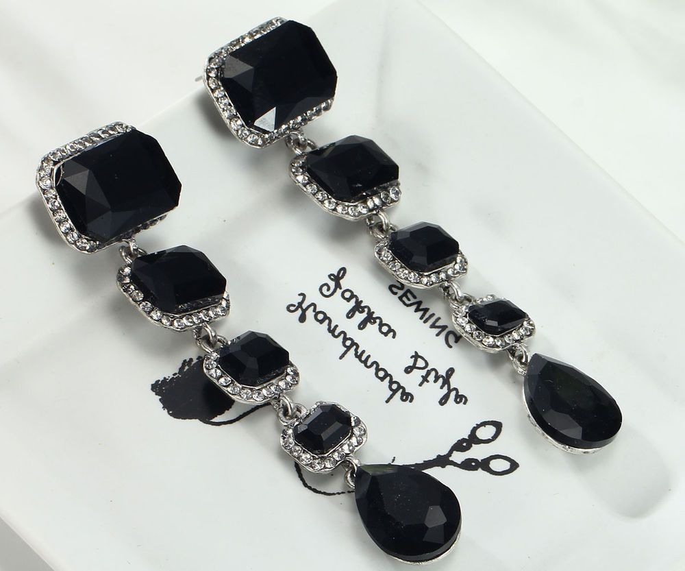 Fashion Elegant Black Crystal Rhinestone Ear Drop Dangle Stud Long Earrings 172