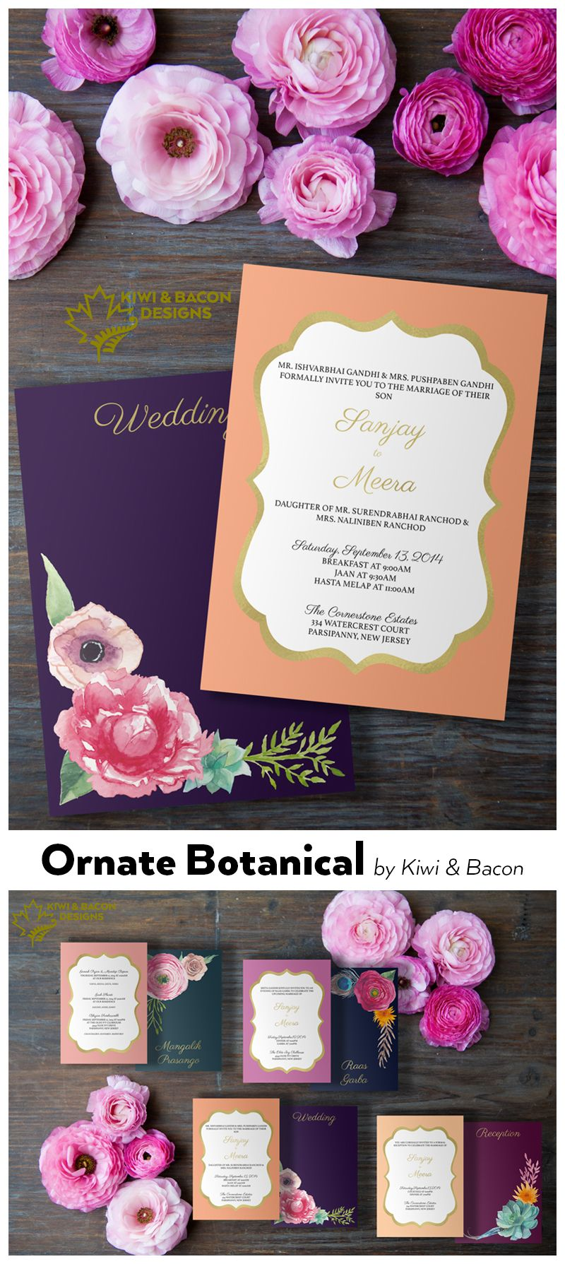 Indian wedding invitation card or suite ornate botanical by indian wedding invitation card or suite ornate botanical by kiwiandbacon flowers floral stopboris Image collections