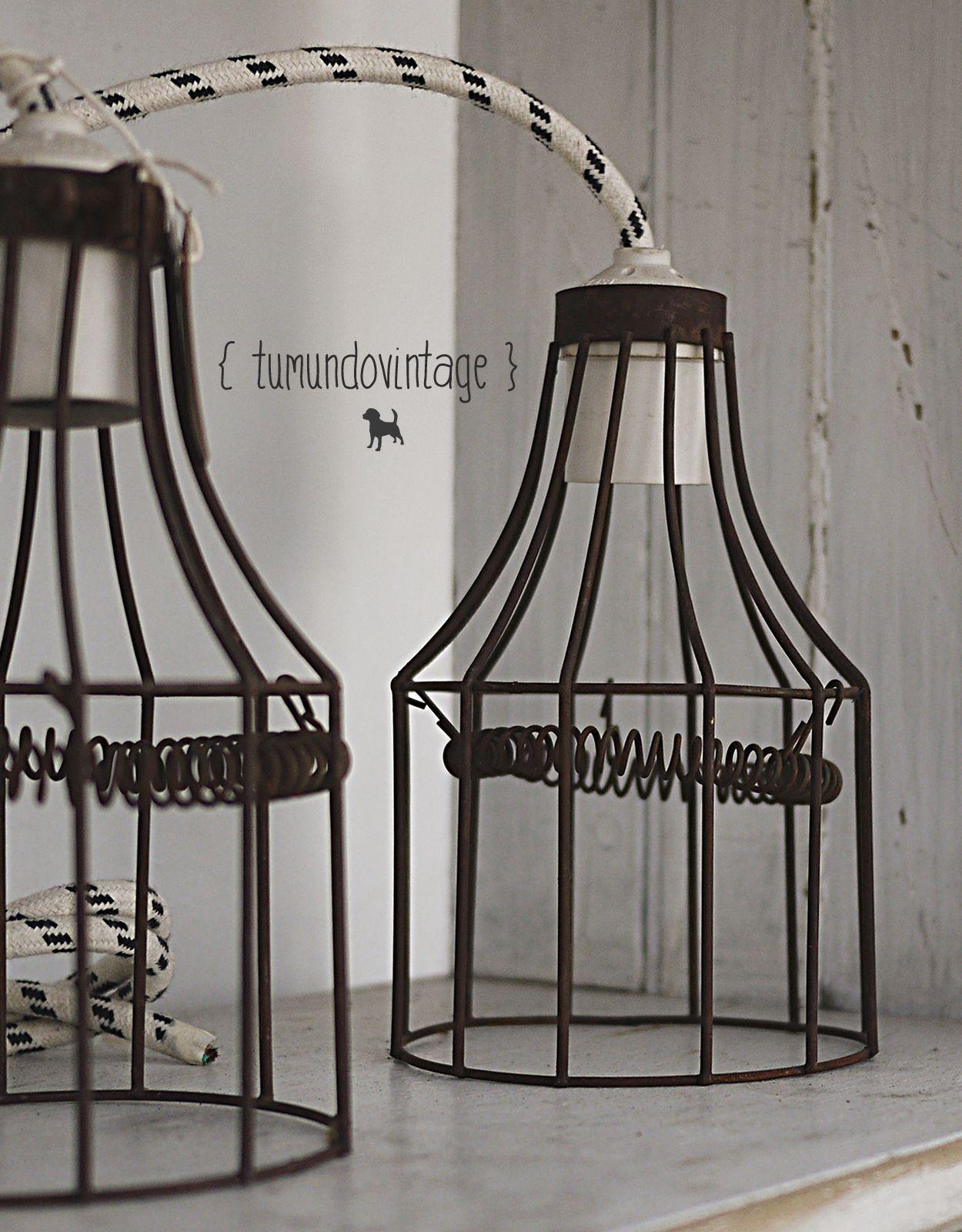 Lámparas de alambre oxidado ↑ Estilo Industrial → Cable de tela ...